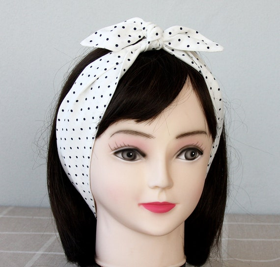 Adult headband women SET OF 2 Polka dot headband black white denim blue top knot headband tie up headband rockabilly headband hair wrap