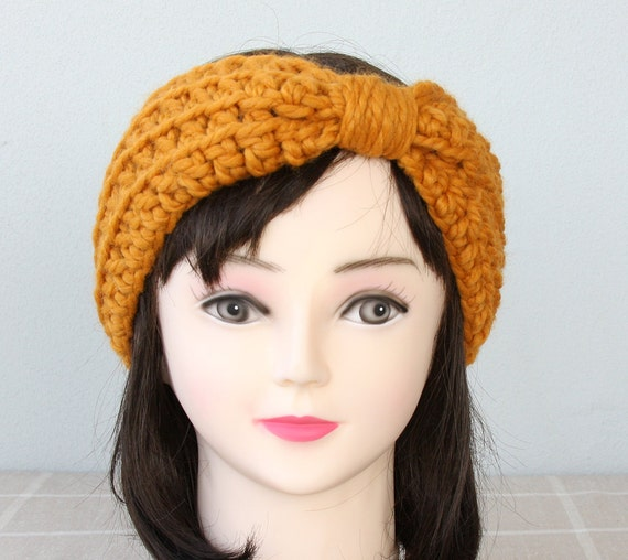 Crochet headbands turban headband crochet ear warmer pumpkin orange headband adult woman winter headbands womens fall accessories harvest