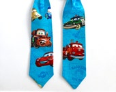 Boys - Cars Lightning McQueen Mater Red Velcro Neck Tie, READY TO SHIP
