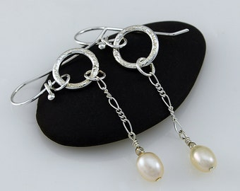 Handcrafted Sterling Silver and Freshwater Pearl Drop Earrings Simple Elegant Contemporary Artisan Design Jewelry  78515309515