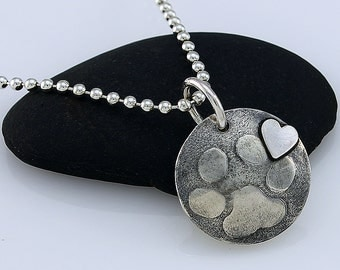 Handcrafted Sterling Silver Paw Print Heart Round Charm Necklace Embossed Design on Sterling Silver Ball Chain  Artisan Jewelry 78469915