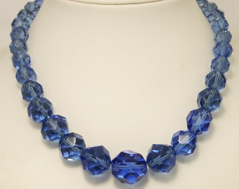 Vintage blue glass bead necklace. Faceted beads.