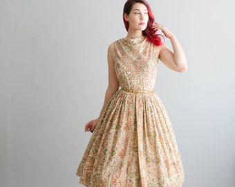 Vintage 1950s Indian Cotton Dress - 50s Block Print Dress - Semester Abroad Dress