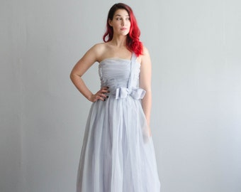Vintage 1960s Gown - 60s Blue Wedding Dress - Above the Clouds Dress
