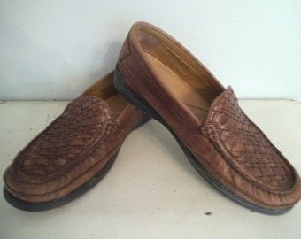 Vintage Dockers Brown Woven Loafers 8 1/2 M ~ Casual Slip ons