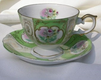 Vintage Rose Floral Tea Cup and Saucer Set, Light Green and White with Gold Trim and Accents, Scallop Edge Saucer, Decor, Upcycling