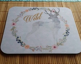 Wild Mouse Pad Deer Silhouette Mouse Pad Tribal Mouse Pad, Watercolor Soft Pastel Floral Mouse Pad, Gold Mouse Pad, Wild Adventure Mouse Pad