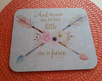 Arrow Mint Mouse Pad, Boho Feathers Tribal Mouse Pad, Soft Pastel Floral Mouse Pad, She is Fierce Mouse Pad, Gold Glitter, Shakespeare Quote