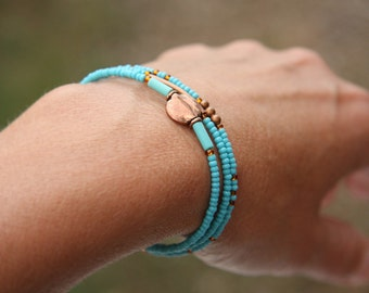 4th July Turquoise jewelry Thin Copper Turquoise Bracelet Minimal Bracelet Blue Seed Bead Stacking Bracelet Petite Tiny Bracelet Friendship