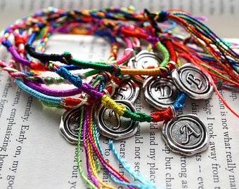 Summer Party Friendship Bracelet Personalized Bracelet Silk String Bracelet Initial Bracelet Braided Bracelet Custom Silver Letter Woven