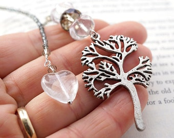 Tree of Life Bookmark Custom Bookmark Personalized Beaded Bookmark Metal Bookmark Unique Bookmarks Heart Charm Bookmark Crystal Glass