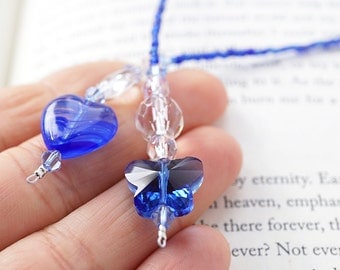 Blue Valentine Heart, Blue Butterfly Bookmark, Swarovski Crystal Beaded Bookmark, Heart Charm Bookmark, Cobalt Blue Glass Beads Gift for her