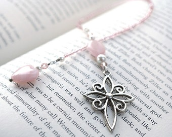 Pink Heart Beaded Bookmark Valentines Day Gift, Silver Cross Bookmark, White Pearl Pink Crystal, Gift for her, Bridesmaids Gift gift for mom