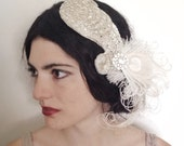 silver beaded cocktail hat, art deco fascinator, hand blocked hat with vintage rhinestones and ivory peacock feathers - ready to ship