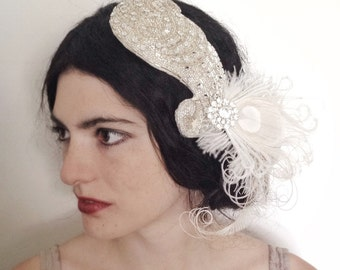 sale- silver beaded cocktail hat, art deco fascinator, hand blocked hat with vintage rhinestones and ivory peacock feathers - made to order