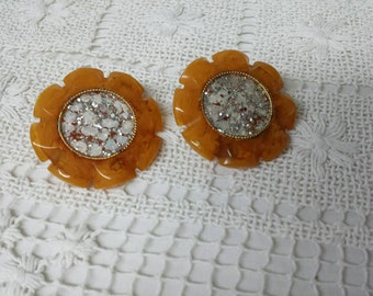 Butterscotch Bakelite with Mother of Pearl Clip earrings Tested