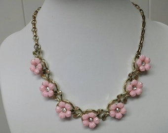 Celluloid Pink Flowers Choker Necklace