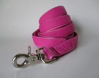 Velvet Dog Leash, Hot Pink Dog Leash, Pink Velvet Leash, 5 foot, Dog Lead, Pink Velvet Lead, Pink Leash