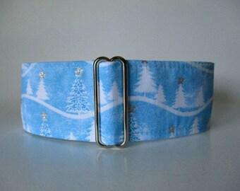 Christmas Martingale Collar, 1.5 Inch Martingale Collar, Christmas Dog Collar, Christmas Trees, Holiday, Winter, Ice Blue, Greyhound Collar