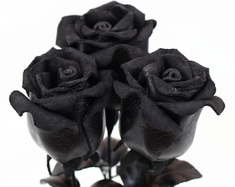 Leather rose black leather flower third anniversary wedding gift long stem flower 3rd anniversary leather anniversary bouquet valentine day