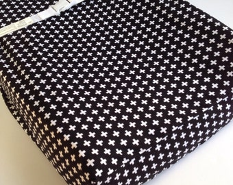 Black White Cross Crib Sheet - Monocrome Baby Bedding - PLUS Changing Pad Cover / Mini Crib Sheets / Black White Modern / Modern Crib Sheets