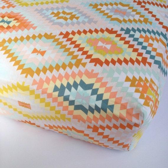 Aztec Baby Bedding - Changing Pad Cover / Crib Sheet / Geomentric Nursery Bedding / Standard or Mini Crib Sheets / Etsy Baby Sheet