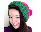 Striped custom chunky knit slouchy beanie with pom pom - knit gifts for girlfriend