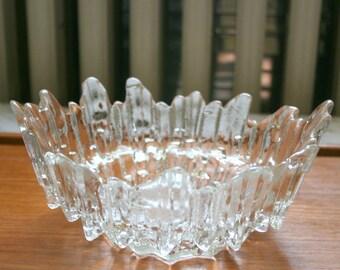 Mid Century Modern Brutalist Art Glass Icicle Bowl Ice Glass Scandinavian