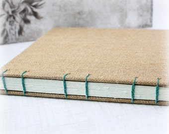Art Journal Handmade Watercolor Sketchbook Travel Journal 8x8 Inch Burlap Journal Watercolor Journal Mixed Media Journal Gratitude Journal