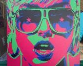 Pop art woman painting,canvas,stencil art,spray paint art,sunglasses,stars,earings,abstract,portrait,girl,her,home living,artwork,design