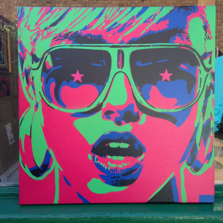 Pop art woman painting canvas stencil art spray paint art for How to spray paint art on canvas