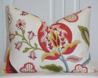 SET OF TWO - 12 x 16 - Decorative Pillow Cover- Floral Jacobean - Russet - Red - Raspberry - Blue - Green - Khaki - Brown - Lumbar Pillow