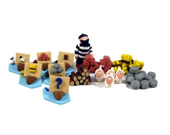 Clay Catan 3D Pieces Set for the base game - resources, robber, and trading ships
