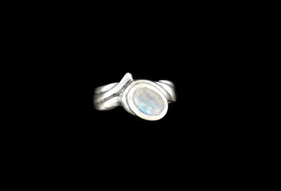 Free Form Sterling Silver Ring with Rainbow Moonstone