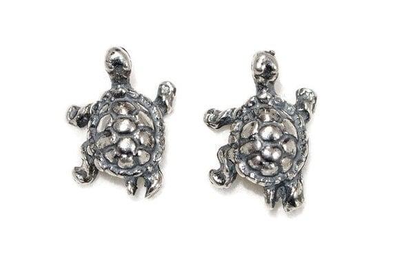Turtle Earrings in Sterling Silver