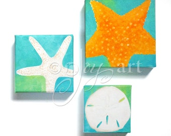 2 Starfish And A Sand Dollar, Office Art, Home Decor, Beach or Tropical Theme
