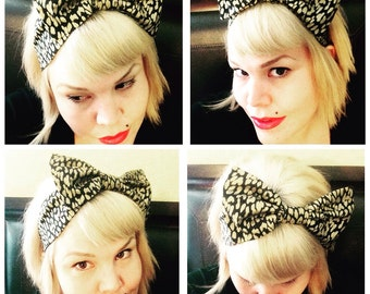 New! NO tie, Animal Print Bow Headband