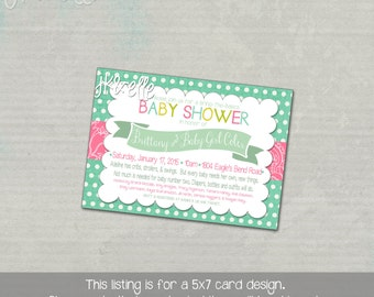 Teal and Pink Baby Shower Invitation