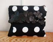 Polka Dot Clutch Purse, Real Leather Flower Embellishments, Black White Dots Bag