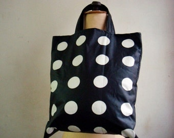 Black Polka Dot Tote Bag, Real Leather Handles, Polka Dot Purse