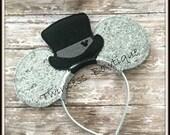 Top Hat Groom - CUSTOM Engagement Groom Mouse Ears Headband