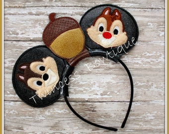 Chipmunk Mouse Ears Headband - CUSTOM - Twincess Bowtique