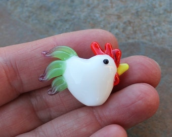 Ten Large lampwork glass rooster beads - white with green and pink tail- 10 pieces - chicken - loose beads - jewelry and crafts DIY