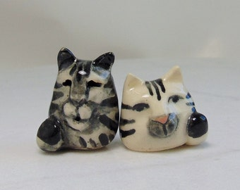 Kitten Miniature Figurines - Terrarium Cat Figurines - Pottery Cats - Ceramic Figurines - Gray Tabby Cat - Silver Striped Cat - set of 2