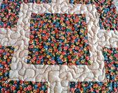 """Quilted Table Topper / Centerpiece Mat / Tablecloth - Orange, Yellow, Blue and Brown - 15"""" x 15"""""""