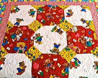 """Quilted Patchwork Bear Baby Quilt for Boys and Girls - Red, White, Green, Yellow and Blue - 34"""" x 34"""""""