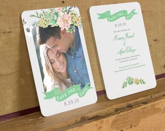 Succulent Save the Date Template,Rustic Floral Save the Date Printable,Rustic Boho Wedding Save the Date,Succulent Digital Download DIY