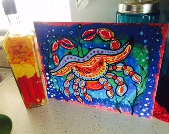 Crab in the Ocean original painting by Nita marked 1/2 off