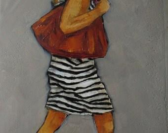 Original Oil Painting - Racing Stripes - Colette Davis - ABSTRACT FIGURE PORTRAIT