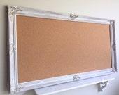 "CORK BOARD Huge 30""x54"" Decorative Bulletin Board Vintage White Distressed Framed Memo Board Wedding Seating Card Holder Farmhouse Decor"
